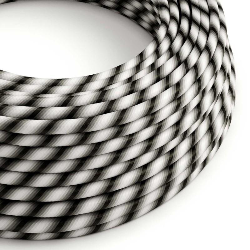 Textilný elektrický HD kábel pruhovaný Vertigo ERM63 Mr Grey - odtiene šedej farby
