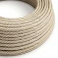 Textilný elektrický kábel pruhovaný, opletený bavlnou a jutou Vertigo ERN07 Hawser - obilná a biela