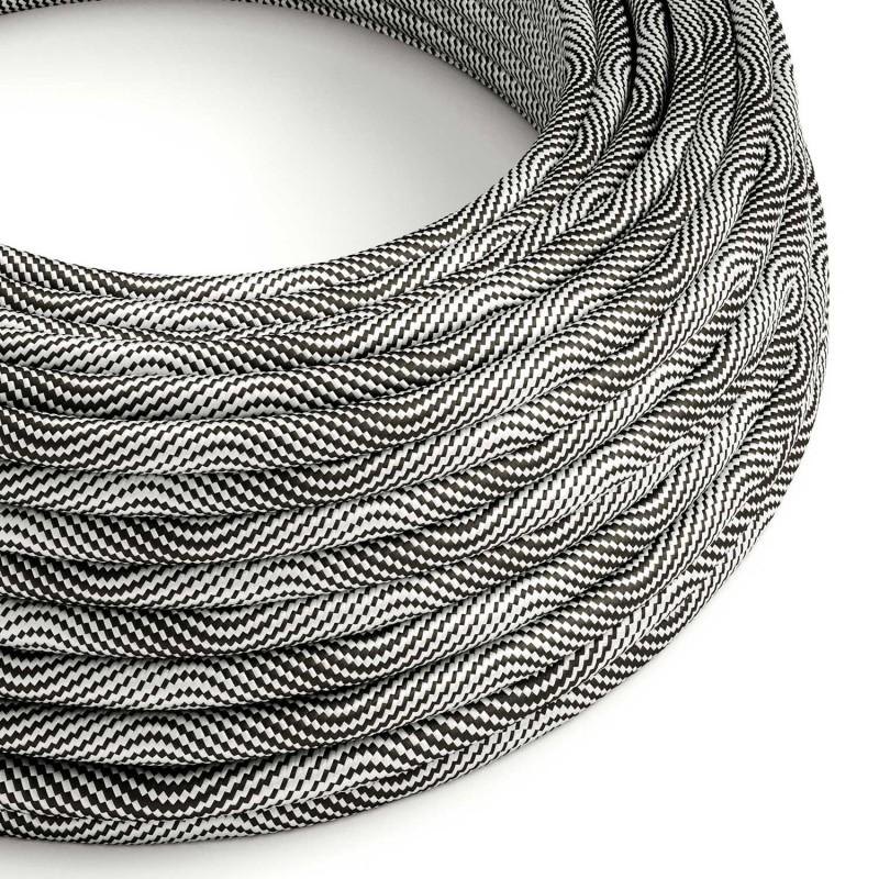 Textilný elektrický HD kábel so vzorom Optical Vertigo ERM64 - čierna a strieborná