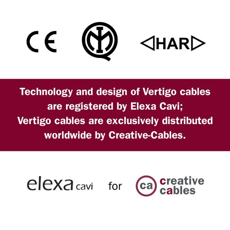 Textilný elektrický HD kábel so vzorom Optical Vertigo ERM66 - čierna a medená