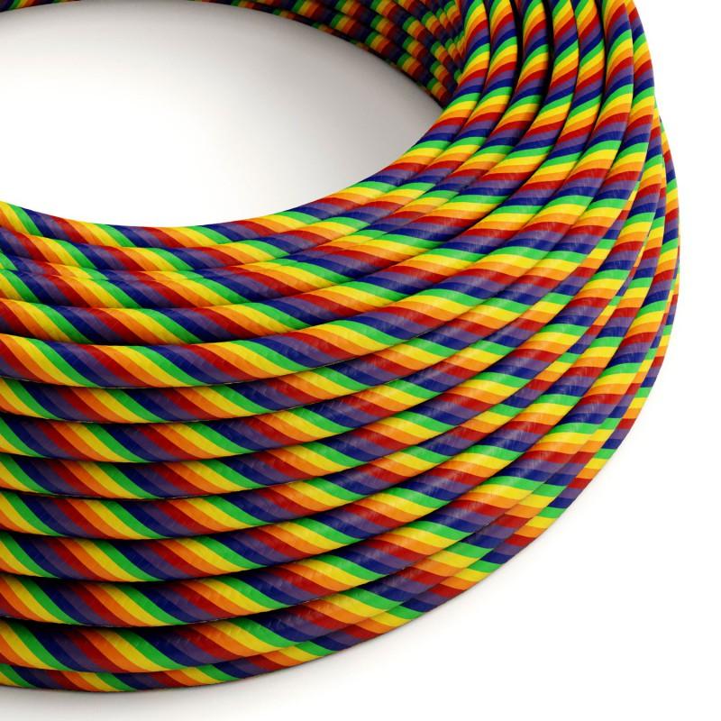 Okrúhly textilní elektrický HD kábel farebný pruhovaný Vertigo ERM68 - dúhový
