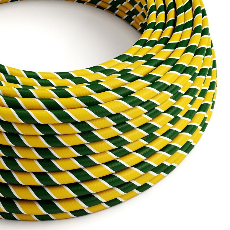 Okrúhly textilní elektrický HD kábel Vertigo Springbok ERM69 - zeleno žltý