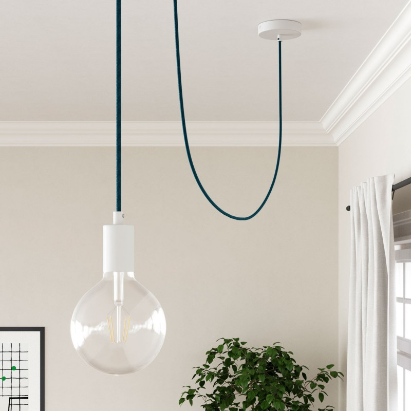 Okrúhly textilný elektrický kábel, bavlna, RC21 modrý Cerulean