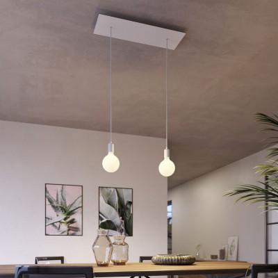 Závesná lampa s 2 svetlami, s obdĺžnikovou XXL rozetou Rose-One, textilným káblom a kovovými komponentami