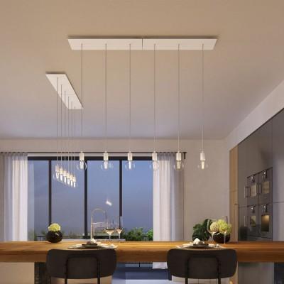 Závesná lampa s 3 svetlami, s obdĺžnikovou XXL rozetou Rose-One, textilným káblom a kovovými komponentami