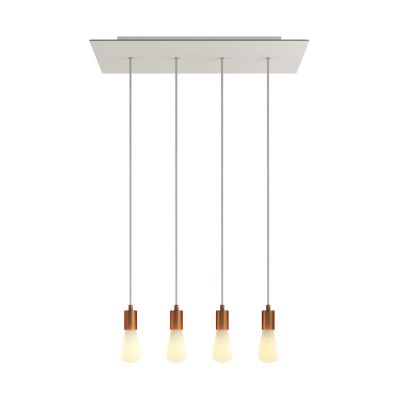 4-light pendant lamp with 675 mm rectangular XXL Rose-One, featuring fabric cable and metal finishes
