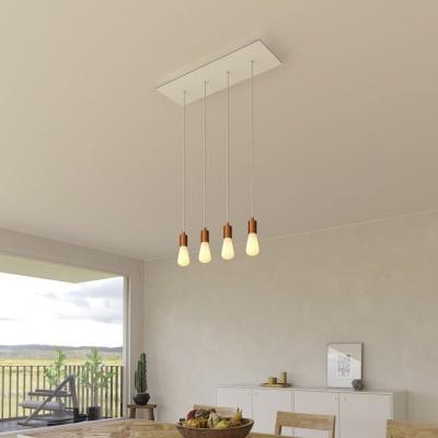 Závesná lampa so 4 svetlami, s obdĺžnikovou XXL rozetou Rose-One, textilným káblom a kovovými komponentami
