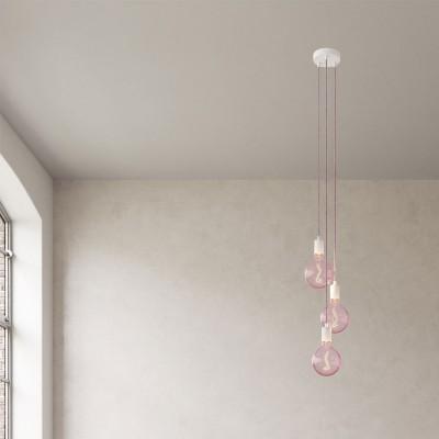 Svietidlo s 3 závesnými svetlami, textilným káblom a kovovými komponentmi
