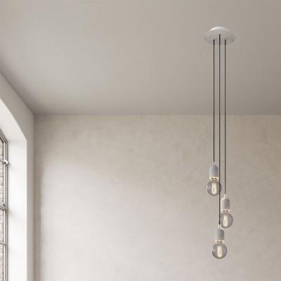 Svietidlo s 3 závesnými svetlami s okrúhlou rozetou Rose-One s priemerom 200 mm, textilným káblom a betónovými objímkami
