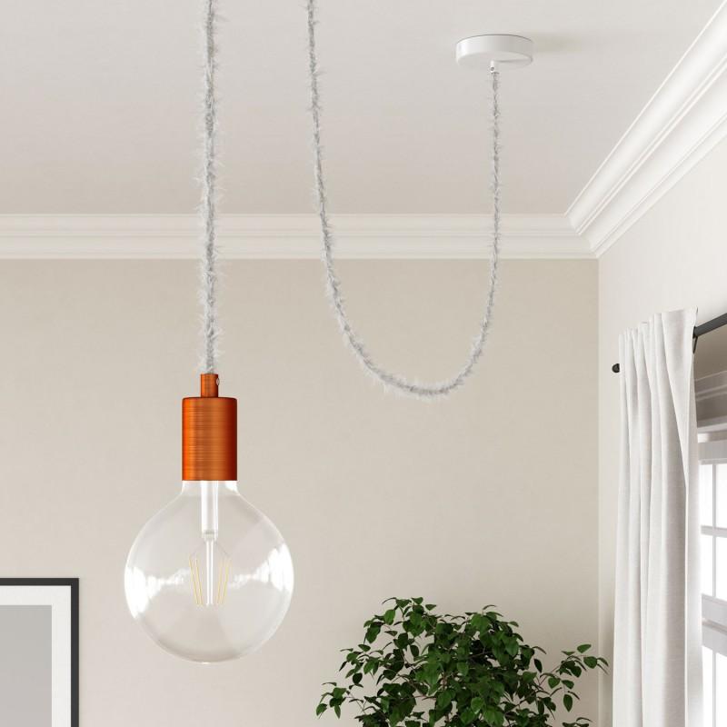 Burlesque - stočený textilný elektrický kábel s chlpatým efektom TP01 biely