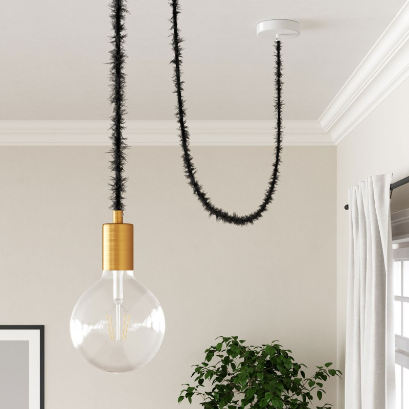 Burlesque stočený textilný elektrický kábel s chlpatým efektom TP04 čierny