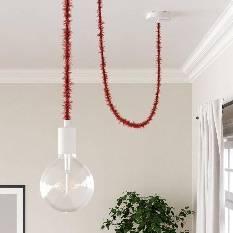 Burlesque stočený textilný elektrický kábel s chlpatým efektom TP09 červený