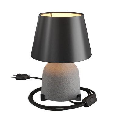 Keramická stolná lampa Vaso s tienidlom Impero, stextilným káblom, vypínačom a dvojpólovou zástrčkou