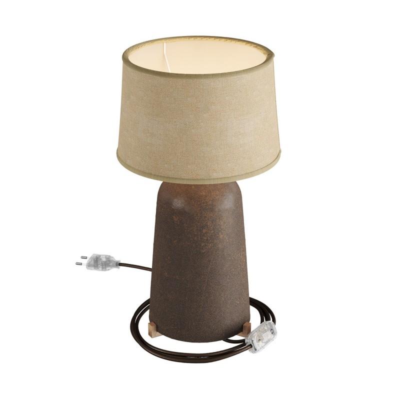 Keramická stolná lampa Bottiglia s tienidlom Athena, stextilným káblom, vypínačom a dvojpólovou zástrčkou