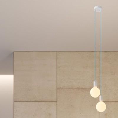 Svietidlo s 2 závesnými svetlami, textilným káblom a kovovými komponentmi