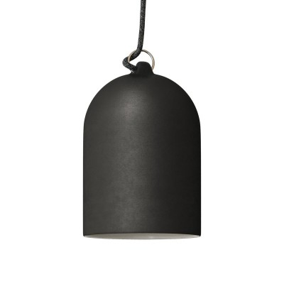 Závesná lampa s textilným káblom a keramickým tienidlom Mini Zvon XS – Vyrobená v Taliansku