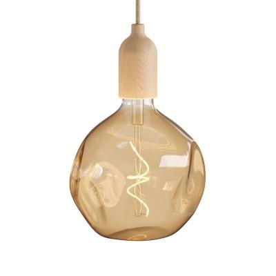 V Taliansku vyrobené závesné svetlo s textilným káblom s drevenou úpravou