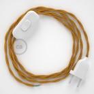 Napájací kábel pre stolnú lampu, TM05 Zlatý hodvábny 1,80 m. Vyberte si farbu zástrčky a vypínača.