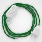 Napájací kábel pre stolnú lampu, TM06 Zelený hodvábny 1,80 m. Vyberte si farbu zástrčky a vypínača.