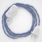 Napájací kábel pre stolnú lampu, TM07 Lila hodvábny 1,80 m. Vyberte si farbu zástrčky a vypínača.
