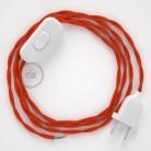 Napájací kábel pre stolnú lampu, TM15 Oranžový hodvábny 1,80 m. Vyberte si farbu zástrčky a vypínača.