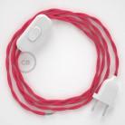 Napájací kábel pre stolnú lampu, TM08 Fuchsiový hodvábny 1,80 m. Vyberte si farbu zástrčky a vypínača.