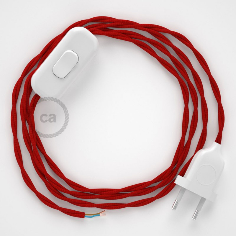Napájací kábel pre stolnú lampu, TM09 Červený hodvábny 1,80 m. Vyberte si farbu zástrčky a vypínača.
