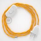 Napájací kábel pre stolnú lampu, TM10 Žltý hodvábny 1,80 m. Vyberte si farbu zástrčky a vypínača.