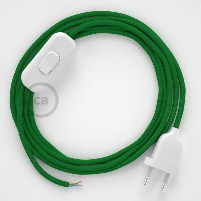 Napájací kábel pre stolnú lampu, RM06 Zelený hodvábny 1,80 m. Vyberte si farbu zástrčky a vypínača.