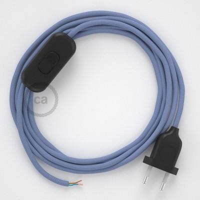 Napájací kábel pre stolnú lampu, RM07 Lila hodvábny 1,80 m. Vyberte si farbu zástrčky a vypínača.