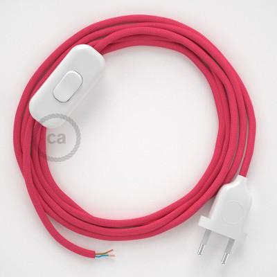 Napájací kábel pre stolnú lampu, RM08 Fuchsiový hodvábny 1,80 m. Vyberte si farbu zástrčky a vypínača.