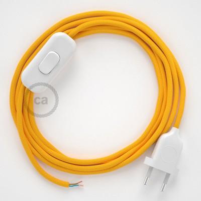 Napájací kábel pre stolnú lampu, RM10 Žltý hodvábny 1,80 m. Vyberte si farbu zástrčky a vypínača.