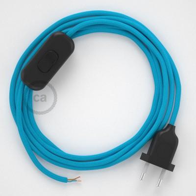 Napájací kábel pre stolnú lampu, RM11 Tyrkysový hodvábny 1,80 m. Vyberte si farbu zástrčky a vypínača.