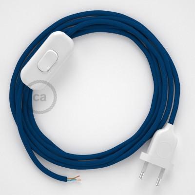 Napájací kábel pre stolnú lampu, RM12 Modrý hodvábny 1,80 m. Vyberte si farbu zástrčky a vypínača.