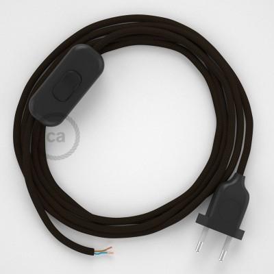 Napájací kábel pre stolnú lampu, RM13 Hnedý hodvábny 1,80 m. Vyberte si farbu zástrčky a vypínača.