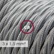 Textilný elektrický kábel so širším priemerom 3x1,50 - stočený - hodváb TM02 strieborný