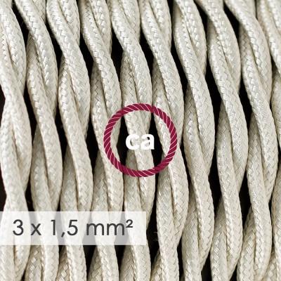 Textilný elektrický kábel so širším priemerom 3x1,50 - stočený - hodváb TM00 slonovinový