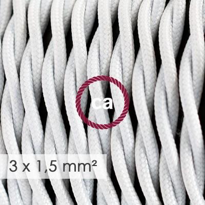 Textilný elektrický kábel so širším priemerom 3x1,50 - stočený - hodváb TM01 biely