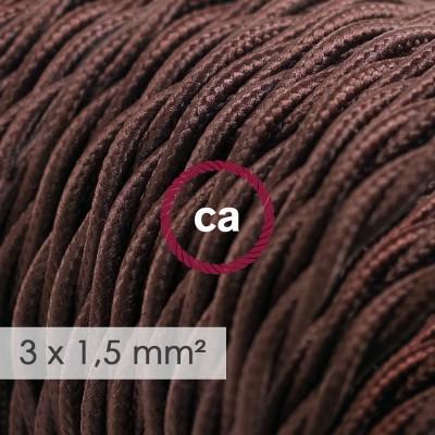 Textilný elektrický kábel so širším priemerom 3x1,50 - stočený - hodváb TM13 hnedý
