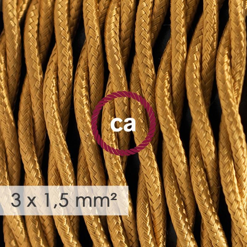 Textilný elektrický kábel so širším priemerom 3x1,50 - stočený - hodváb TM05 zlatý