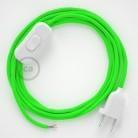 Napájací kábel pre stolnú lampu, RF06 Fluo zelený hodvábny 1,80 m. Vyberte si farbu zástrčky a vypínača.