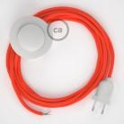 Napájací kábel pre podlahovú lampu, RF15 Fluo oranžový hodvábny 3 m. Vyberte si farbu zástrčky a vypínača.
