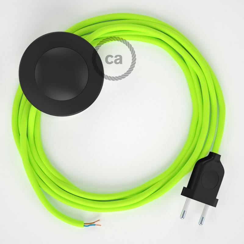 Napájací kábel pre podlahovú lampu, RF10 Fluo žltý hodvábny 3 m. Vyberte si farbu zástrčky a vypínača.
