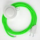 Napájací kábel pre podlahovú lampu, RF06 Fluo zelený hodvábny 3 m. Vyberte si farbu zástrčky a vypínača.