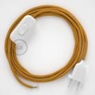 Napájací kábel pre stolnú lampu, RM05 Zlatý hodvábny 1,80 m. Vyberte si farbu zástrčky a vypínača.