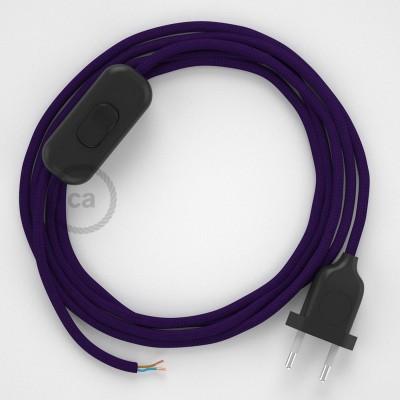 Napájací kábel pre stolnú lampu, RM14 Fialový hodvábny 1,80 m. Vyberte si farbu zástrčky a vypínača.