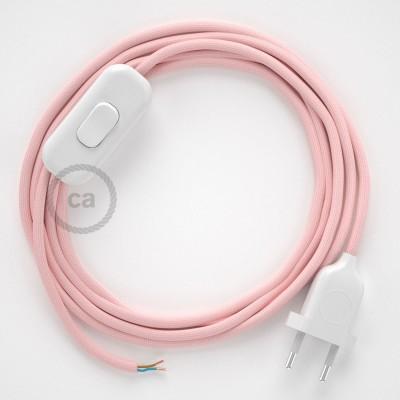 Napájací kábel pre stolnú lampu, RM16 Ružový hodvábny 1,80 m. Vyberte si farbu zástrčky a vypínača.