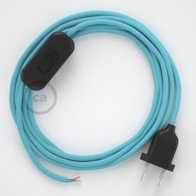 Napájací kábel pre stolnú lampu, RM17 Svetlo modrý hodvábny 1,80 m. Vyberte si farbu zástrčky a vypínača.