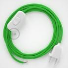 Napájací kábel pre stolnú lampu, RM18 Limetkový hodvábny 1,80 m. Vyberte si farbu zástrčky a vypínača.