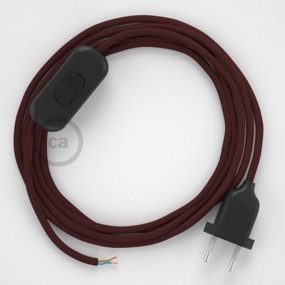 Napájací kábel pre stolnú lampu, RM19 Bordový hodvábny 1,80 m. Vyberte si farbu zástrčky a vypínača.